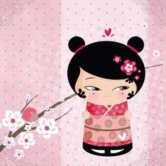 Le tableau Kokeshi Rose by Magali Fournier de Lilipinso permettra de décorer la chambre de votre fille sur le thème japonais.