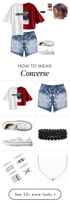 """""""Really Random Outfit"""" by nataliaace on Polyvore featuring Mat, Converse, Minnie Grace, Bling Jewelry, Forever 21 and Hourglass Cosmetics"""