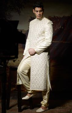 Cream Brocade Readymade #Sherwani | $891.67