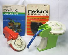 Vintage Set of 2 Dymo Type Label Makers  2 MOC Tapes 1971