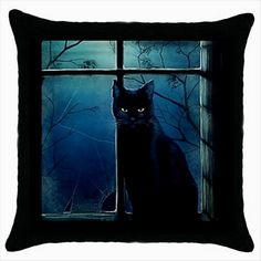 BLACK CAT Quality Cushion Cover Throw Pillow Case Gift  http://stores.shop.ebay.co.uk/giftbazaar