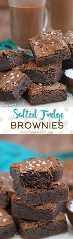 Salted Fudge Brownies - rich and fudgy brownies with big flakes of sea salt! | From http://SugarHero.com