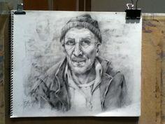 Lápiz, retrato de pescador.