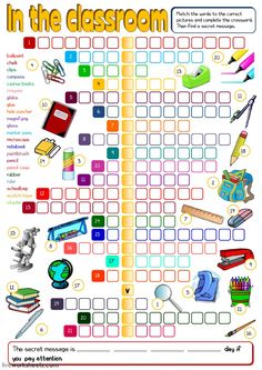In the classroom - crosswords Language: English Grade/level: elementary School subject: English as a Second Language (ESL) Main content: School objects Other contents: Vocabulary Worksheets, English Vocabulary, Printable Worksheets, Crossword Puzzles, Diy School Supplies, Online Programs, School Subjects, Learn English, Objects