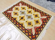 Handmade Woollen Kilim Dhurrie Hand-Woven Kelim 4x6 Turkish Oriental Area Rug #Handmade #TraditionalPersianOriental