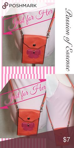 """Little Girls Crossbody Bag Your little one will be darling with this fashionable orange faux leather purse, cute and adorable and affordable.  Adjustable crossbody shoulders straps body of the bag is 6""""L X 4"""" W Accessories Bags"""