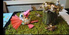 Kunst- en vliegwerk Cpe Gemaakt door een leerling. Uitvliegen, Jan Jans en de Kinderen (op de vogels, moedervogel meer dan jongen ivm levenslessen).  Klei en vele andere materialen. Blariacum