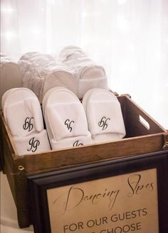 DANCING SHOES! Slippers for our guest personalised with JP on them!