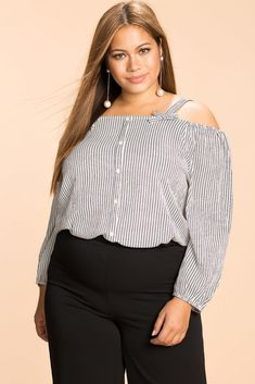 Callie Stripe Cold Shoulder Top