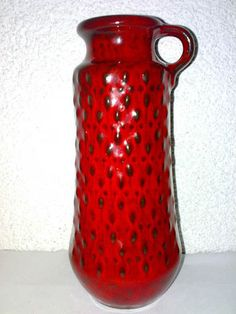Vase JASBA 1670-20 WGP Mid Century 50s 60s Abstract Henkel Handle Red Glaze LOOK