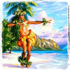 hula girl art by phil roberts art