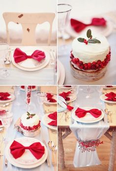 Weddbook is a content discovery engine mostly specialized on wedding concept. You can collect images, videos or articles you discovered  organize them, add your own ideas to your collections and share with other people - festive holiday tablescape - love the red bow napkins!