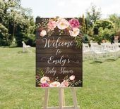 Rustic Floral Baby Shower Welcome Sign, Wood and Purple Flowers Baby Shower Printed Welcome Sign, R Rustikale Floral Baby Shower Willkommensschild, Holz und lila Blumen Baby Shower gedruckt Willkommensschild, R Bridal Shower Welcome Sign, Bridal Shower Signs, Baby Shower Signs, Bridal Shower Rustic, Bridal Shower Decorations, Baby Shower Themes, Shower Ideas, Wedding Decorations, Deco Baby Shower
