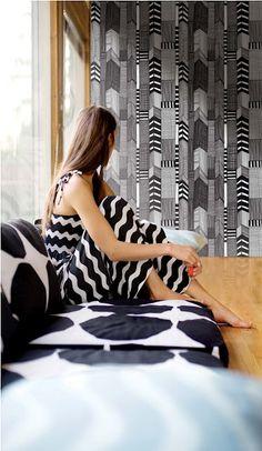Black and white wallpaper, Marimekko