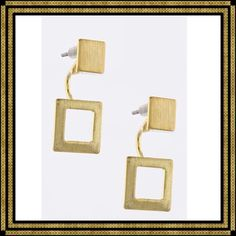 🌺HOST PICK🌺Sanding Square Design Ear Jackets These ear jackets have a gold-tone square with a post that slides through the connecter of the open square to fasten in the back. These are so versatile! Just shy of an inch drop but more narrow than long. Trendy, understated, lightweight. Lead/nickel compliant. Kelye's Kloset Jewelry Earrings