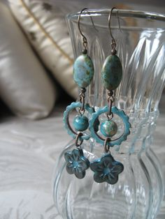 Turquoise earrings very long earrings aqua by McEnroeMoments