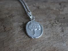 This tree pendant is made from the impression of a wax seal and then cast in recycled fine silver. The perfect keepsake necklace celebrating family love. Tree Of Life Necklace, Tree Pendant, Wax Seals, Gold Jewelry, Roots, Strength, Silver, Design, Tree Of Life