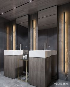 Modern Apartment designed by Yodezeen Architects 📍Kiev 🇺🇦 Office Bathroom, Bathroom Toilets, Washroom Design, Bathroom Interior Design, Bathroom Lighting Inspiration, Toilette Design, Luxury Toilet, Modern Apartment Design, Public Bathrooms