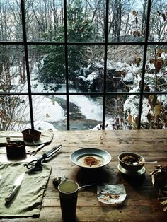 The perfect epitome of hygge - breakfast shared with a loved one, snuggled up indoors admiring the winter scenes outdoors