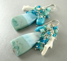 Larimar White Coral and Sleeping Beauty Turquoise by SurfAndSand, $189.00