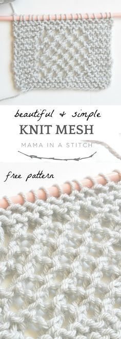 Super easy and free knitting pattern that creates a gorgeous knit mesh stitch! via @MamaInAStitch #freepattern #beginnerknit #mamainastitch #diy #crafts