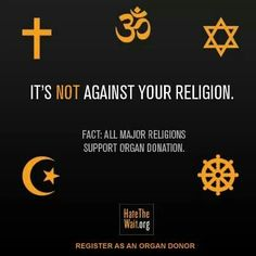 Organ donation is supported by all major world religions! #organdonation #taylorsgift #donatelife