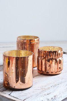 Copper glass tealight holders: set of three