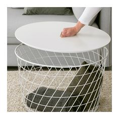 """KVISTBRO Storage table - IKEA - Product dimensions Diameter: 24 """" Height: 16 1/2 """" - Article Number: 503.222.39 - $59.99 - maybe for coffee table"""