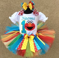Elmo Colorful Rainbow Splash Girls Tutu Birthday Outfit