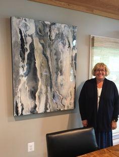 "Cathy Chervanick - Custom Art  36x48 - ""Glacier"" in mixed media, custom commission"