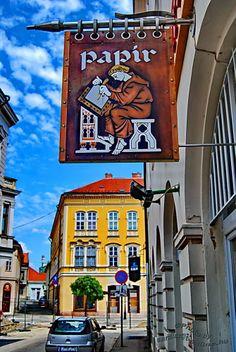 Paper shop sign board - Székesfehérvár