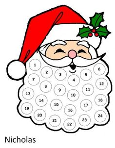 Santa Advent Calendar.  Use cotton balls for the beard.