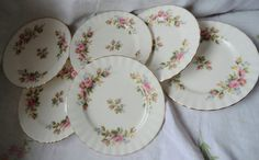 SALE Set of 6 Royal Albert MOSS ROSE Vintage by PrettyVintageHome