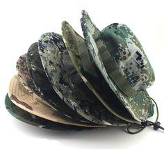 b9106480a43 24-Colors Military Camouflage Bucket Hats Fisherman Hats With Wide Brim Sun  Fishing Bucket Hat