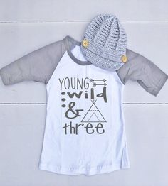 Birthday Outfit for Boy - Birthday Shirt for Boy - Third Birthday Outfit for Boy - Third Birthday Shirt for Boy - Young Wild & 3 Cute Birthday Outfits, Birthday Boy Shirts, Third Birthday, Boy Birthday, News Boy Hat, Little Boys, Grey And White, Boy Outfits, Kids