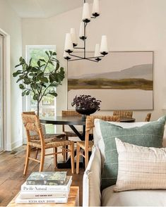 Green pillows and art in the dining room and living room area with natural dining chairs and tree. World Of Interiors, Dining Area Design, Decor Pillows, Green Pillows, Vintage Pillows, Vintage Linen, Shabby Chic Furniture, Rooms Furniture, Furniture Ideas