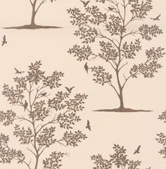 Bird Tree Cream / Gold wallpaper by Albany