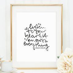 Digitaldruck - Poster, Kunstdruck, Spruch: Listen to your heart - ein…