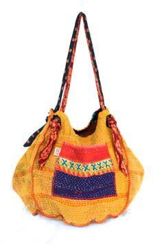 reversible kantha bag twoway vintage kantha quilt by fairlyworn