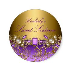 Purple Gem & Pearls Sweet Sixteen Sticker