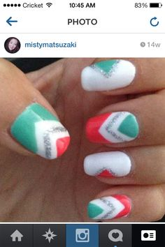 Mint and coral chevron shellac nail art with gelish and glitter. Nail design by misty