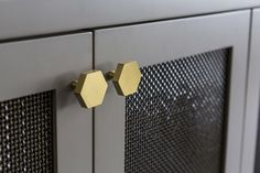 Brass Hexagon Knobs and Brass Wire Mesh Screen for Media Cabinet by Dalliance Design