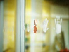 details | window manifestation #pictosign #handprints Wayfinding Signs, Signage, Helping People, Place Cards, Place Card Holders, Window, Windows, Signs