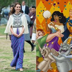 Pin for Later: 12 Times the Royals Channeled Your Favorite Disney Princesses Kate Middleton as Esméralda Kate Middleton wearing a Kelzang Wangmo skirt and Paul & Joe capelet on the royal tour of India and Bhutan in 2016.