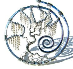 Tree of Life Silver Weeping Willow Pendant with by CarrieEastwood