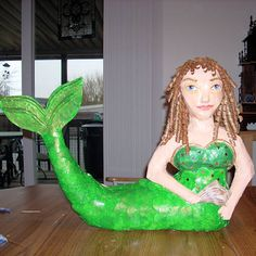 Wow a paper mache mermaid our #robertscrafts red paris yarn would be a great alternative for the hair and to get that real little mermaid look! #Kids #Crafts