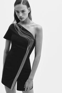 Mugler Resort 2016 - look 5 - black sheath one-shoulder dress with asymmetrical white squiggly freeform line pattern, slit hem