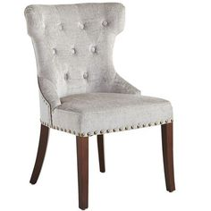 The hour is at hand for our well-built, elegant chair with hand-placed button tufts and deep, comfortable padding. It's covered in a crushed velvet…