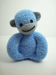 A Sock Monkey Toy for Babies in Blue and Grey by warmpersonality, $20.00