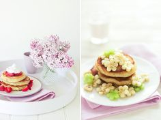 Coconut pancakes with banana flowers